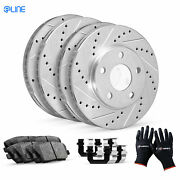 [complete Kit] Eline Drilled Slotted Brake Rotors And Ceramic Pads Cec.6105802