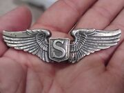 Ww2 Wwii Service Pilot Wings Sep. Applied Shield Sterling Pin Back Usaaf Aaf 3