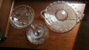 Fostoria Glass 10 Handled Cake Plate Cup Saucer Footed Bowl Heather Century