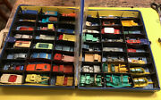 Lot Of 48 Vintage 1960's Lesney And Matchbox And Penny Die Cast Cars In Case.