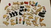 Vintage 1940and039s Cracker Jack Celluloid Animal Charm Prize Lot Of 50