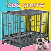 36 Large Heavy Duty Metal Dog Crate Pet Kennel Cage Playpen With Tray And Wheels