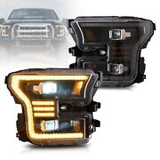 Vland Full Led Projector Headlights For Ford F150 15-17 And F150 Raptor 16-21