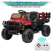 12v Ride On Tractor With Detachable Trailer, Kids Truck Car Toy, Remote Control