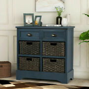 Rustic Storage Cabinet W/drawers Basket F Entryway/living Room Accent Furniture