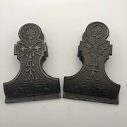 Pair Antique Cast Iron Paper Clips Victorian Or Eastlake Design 4 1/2 Inch High