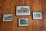Antique English 19th C Set Engraving Print Team Stagecoach Mail Horse Weather