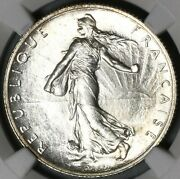 1917 Ngc Ms 63 France 2 Francs Sower Silver Mint State Wwi Paris Coin 21080202c