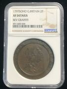 1797 Soho Great Britain 2 Pence Ngc Xf Copper Coin King George Iii Km 619 40mm