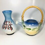 Vtg Willard H. Mathis Signed Light Blue Asian Style Pottery Vase And Pitcher 8andrdquo