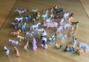 Vintage Lot Of 46 Plastic Toys Farm Animals Horses, Dogs, Pigs, Cows And More