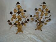 Antique Candleabra Pair Grape Leaves Wheat Brass Aprox 1850and039s Holds 7 Candles
