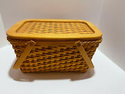 Longaberger Large 2000 Picnic Basket With Lid And 2 Insert, Leather Band