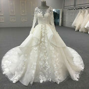 Vintage Long Sleeve Wedding Dresses Satin Lace Appliques Beaded Bridal Gowns