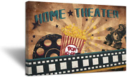 Zlove Large Vintage Old Film Abstract Canvas Wall Art Film Reels Popcorn Concept