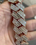15 Ct Round And Emerald Sim Diamond Men's Cuban New Style 15mm X 24 Chain And Gift