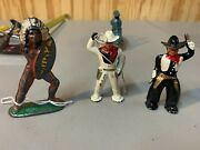 Vintage Cowboys Indian Lead Toy Lot Soldier Barclay Antique