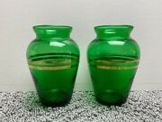 Lot Of 2 Vintage Small Green Glass Bud Vases With Gold Rings 3 3/4 Tall