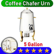 Coffee Chafer Urn With Gold Accents | 5 Gallon | Stainless Steel | 80 Cup