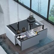 Smart Modern Center Coffee Table With Drawer Refrigerator Storage Touch Wireless