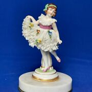 Antique Rare Germany Dresden Lace Muller And Co Dance Ballet Porcelain Figurine