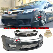 Tr-style Front Bumper Cover Pp + Grille Fits 12-15 Honda Civic 4dr Sedan