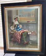 Antique Print From Original Painting Betsy Ross First American Flag By Horbacher