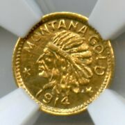 1914 Montana Gold 25c Hartand039s Coins Of West / Hr6 Ngc Gem Ms65