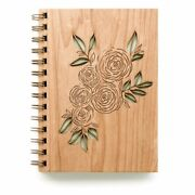 Wooden Journal Notebook Wood Sketchbook Spiral Bound Blank Pages For Gifts