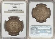 France Republic 1875a Large Crown Size Silver Coin 5 Francs Ngc Mint State 62
