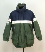 Vtg Nautica M Duck Down Puffer Jacket Blue Water Challenge Competition Puff 90s