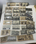 Lot Of 39 Antique Stereoview Photo Cards Of Us Battleships Cruisers Ship 1890s+