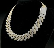 Menand039s 19mm Thick And Raw Prong Cuban Necklace Chain In 14k Yellow Gold Plated