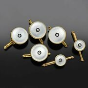 Antique 14k Yellow Gold Mother Of Pearl And Diamond Cufflinks Shirt Stud Set 8.2g