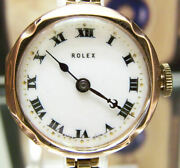 Antique Vintage 1926 Swiss Solid Gold Rolex Deco Watch Enamel Dial And Rg Band