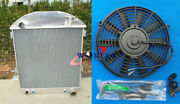 Aluminum Radiator+fan For Ford Chev Chevy Engine Model T-bucket Grill 1924-1927