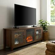 Walker Edison Bern Classic 2 Glass Door Fireplace Tv Stand For Tvs Up To 80 Inch