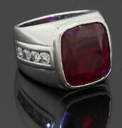 Heavy 14k Wg 13.20ct Vs Diamond And Synthetic Ruby Menand039s Ring Size 7.75