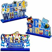 3 Pieces Beer Festival Wooden Centerpiece Signs Wood Tabletop Decor With Okto...