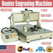 Usb 4 Axis Cnc 6090z Router Engraver Metal Milling 3d Cutting Machine 1500w