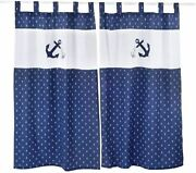Baby Bedding Design-navy Anchor Patch Nautical Embroidered 2 Curtains