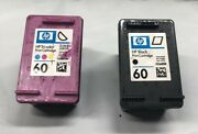 Lot Of 2 Genuine Hp60 Black Hp60 Color Empty Ink Printer Cartridges For Refill
