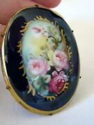Beautiful Antique Large Oval Hand Painted Porcelain Pink Roses Brooch Pin