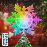 Lsxd Snowflake Christmas Tree Topper With Multicolor Led Lights Timer And Rem...