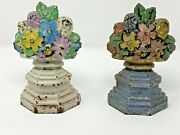 Pair Vintage Doorstops Book Ends. Flowers Hubley 6 Inches 1920and039s Cast Iron