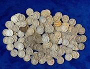 1917-1945 Mercury Dimes 90 Silver, Lot Of 156 Circulated Coins, Face=15.60