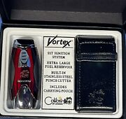Vintage Colibri Quantum Lighter Red And Silver, Black Case Included