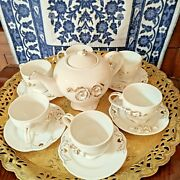 17 Pc Alsie Collection Gold 3d Floral Chinese Coffee Pot Service Sugar And Creamer