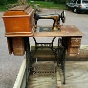 Antique Singer Treadle Sewing Machine Cabinet Table 4drawer Oak Cover Cast Iron