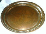 Antique Large Middle Eastern Copper Charger/tray Diameter 39 Cm